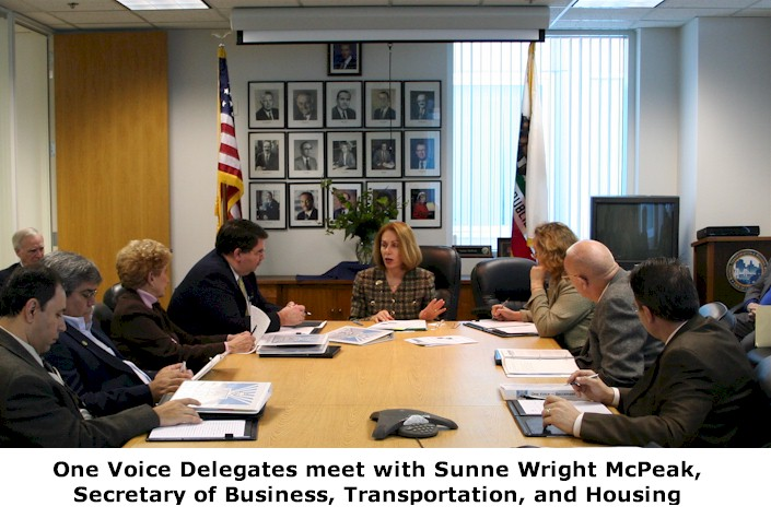 One Voice Delegates meet with Sunne Wright McPeak, Secretary of Business, Transportation, and Housing